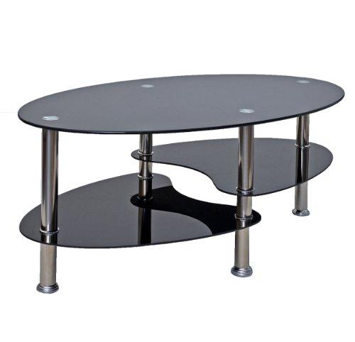 glastisch beistelltisch schwarz couchtisch oval edelstahl. Black Bedroom Furniture Sets. Home Design Ideas