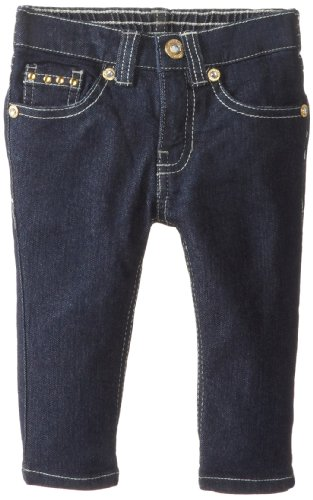 U.S. Polo Assn. Little Girls' Skinny Denim Capri With Nailheads On Coin, Totally Pink, 5