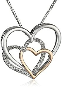 """XPY Sterling Silver, 14k Rose Gold, and Diamond Triple Heart Pendant Necklace (.09 cttw, I-J Color, I3 Clarity), 18"""""""