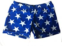 Blue with White Stars Basic Shorts (Blue, 6 in. Adult M 8-10)