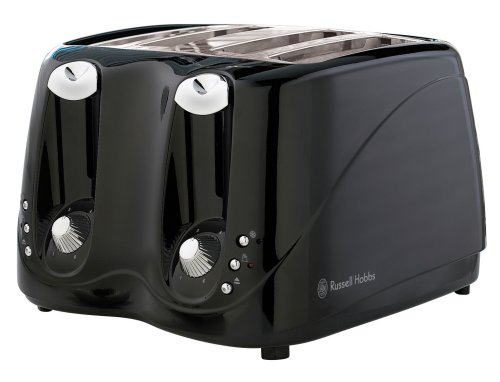 Russell Hobbs 14340 4-Slice Toaster in Black Plastic with Variable Browning and Frozen, Cancel and Reheat Functions by Russell Hobbs