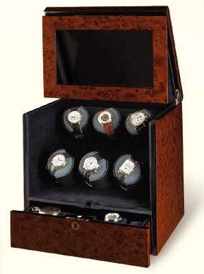 Orbita Watch Winders The Monico 6 Burlwood - Watch Winder For Six Watches By Orbita