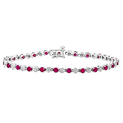 Ariel Round Brilliant 9ct White Gold 2.70ct Gem Stone and Diamonds 0.63ct Tennis Bracelet of 18.1cm
