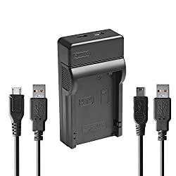 USB charger for Panasonic DMW-BCG10E, DMWBCG10E, BCG10E, DMW BCG10E, BCG10E GK, BCG10PP Battery suits Panasonic Lumix DMC TZ, ZR, ZS, ZX Compact Camera + 2 usb cables