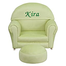 Flash Furniture Personalized Kids Microfiber Rocker Chair and Footrest, Green