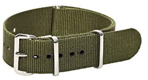 20mm Nato Ss Nylon Solid Army Green Interchangeable Replacement Watch Band Strap