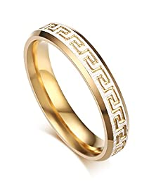 buy Stainless Steel Gold-Tone Greek Key Pattern Engrave Couples Wedding Bands Ring For Men And Women