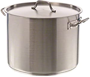 Update International SPS-40 SuperSteel 18/8 Stainless Steel Induction Ready Stock Pot with Cover, 40-Quart, Natural