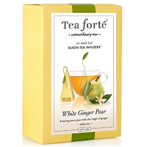 Tea Forte Gourmet Pyramid Box Tea Infusers-White Ginger Pear, 6 ct by Tea Forte