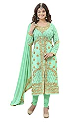 Manthan Light Green Embroidered Un-Stitched Chudidar Suit