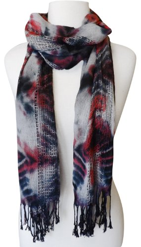 Peach Couture® Retro Tie Dye Scarf/Wrap With Boxed Stitching And Fringed Ends (Black & Pink)