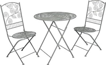 Jugendstil Gartenmöbel Set - Bistro Set - 1 Tisch mit 2 Stuhlen Model Palermo - Antikweiss