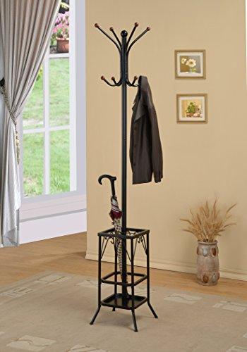 Black Finish Freestanding Standing Metal Coat Hat Purse Rack with Umbrella Holder 8 Hooks