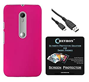 Chevron Rubberized Back Cover Case for Motorola Moto G Turbo Edition with HD Screen Guard & Data Cable (Deep Pink)