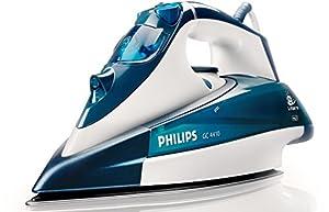 Philips GC4410/02 Dampfbügeleisen (Leistungsstarker Dampfstoß: 130g/Min, 40g/Min konstant hoher Dampfausstoß, Dampfspitze, SteamGlide-Bügelsohle, Tropf-Stopp), weiß/blau