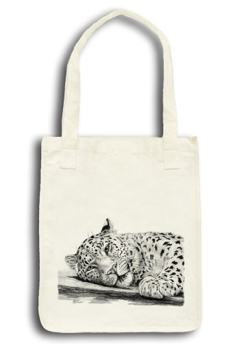 Leopard Eyes Drawing Art Tote - Organic Cotton Grocery Market Bag