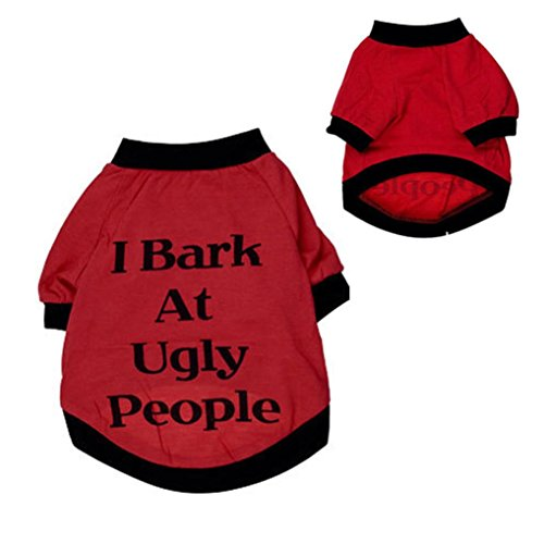 Best Price! Puppy Clothes,Haoricu I Bark At Ugly People Cats T Shirt Sweatshirt for Pets Small Large...