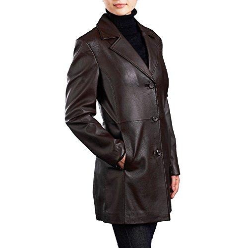 "BGSD Women's ""Danielle"" New Zealand Lambskin Leather Walking Coat - Black XL"