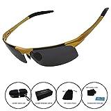 Men's Polarized Sunglasses Driving Riding Fishing Unbreakable Frame Fashion Glasses (Golden)