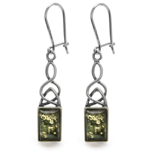 Sterling Silver Green Amber Rectangular Celtic Earrings