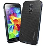 Spigen® [METALLIZED BUTTONS] Samsung Galaxy S5 Case Protective [Neo Hybrid] [Metal Slate] Bumper Case Slim Fit Dual Protection Cover for Galaxy S5 / Galaxy SV / Galaxy S V (2014) - Metal Slate (SGP10774)
