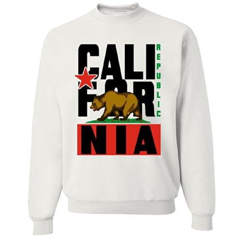 California Republic Black Retro Crewneck Sweatshirt By Dsc - White Small front-377161