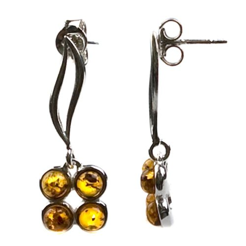 Sterling Silver Honey Amber Flower Earrings