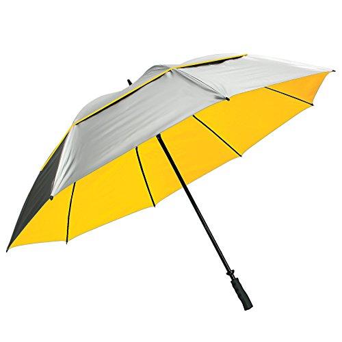 "Sun Tek 68"" UV Protection Wind Cheater Vented Canopy Umbrella, Silver/Yellow"
