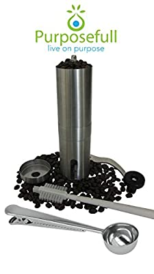 Purposefull Coffee Lovers Gift Set - Manual Coffee Bean Grinder + Measuring Spoon Clip + Cleaning brush + Black Cloth Carry Case - For Aeropress, French Press, Espresso, Cafetière by Purposefull Products