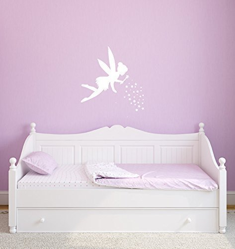 Disney Tinkerbell Wall Decals, Fairy With Pixie Dust Vinyl Sticker for Girls Room, Pink, Purple, White, Other Colors (Peter Pan Barbie compare prices)