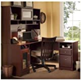 BUSH FURNITURE Bush Furniture Cabot L-Desk and Hutch, Harvest Cherry Finish