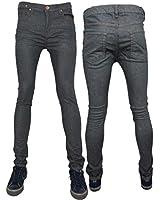 Mens Zico Super Skinny Stretch Punk Retro Denim Jeans In GREY
