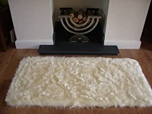 d 39 ivoire en peau de mouton deep pile soft fausse fourrure taille tapis 70cm x 140cm. Black Bedroom Furniture Sets. Home Design Ideas