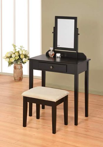 ABC Contemporary Vanity Set with Adjustable Mirror and Stool Black Finish