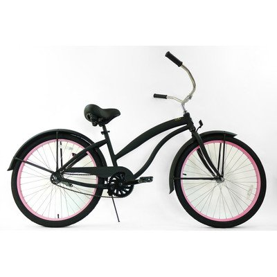 Women's Single Speed Aluminum Beach Cruiser Frame Color: Flat Black with Pink