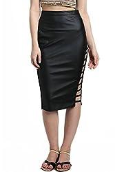 Divaat Black Synthetic Medium Skirt For Women