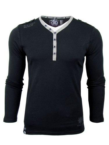 Mens Dissident Y-Neck T-Shirts Long Sleeve Black or Light Grey Jumper