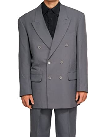 New Double Breasted Gray (Grey) Men's Business Dress Suit