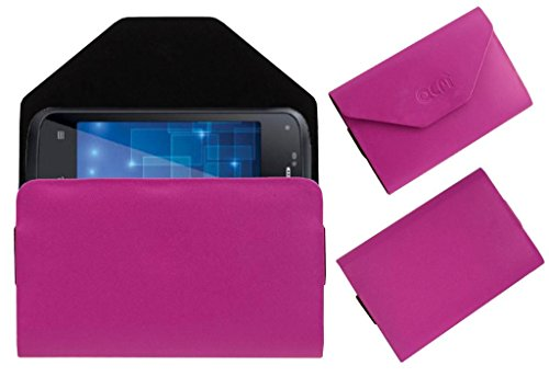 Acm Premium Pouch Case For Iball Andi 5h Quadro Flip Flap Cover Holder Pink  available at amazon for Rs.179