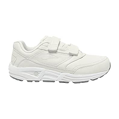 Brooks Women's Addiction Walker V-Strap Shoes White 5.5 / B and Premium Running Sock Bundle