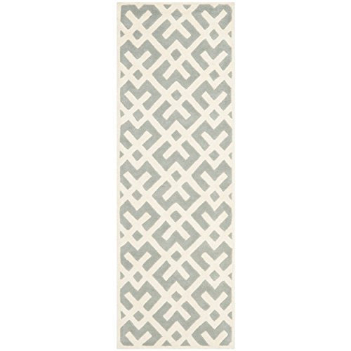 Safavieh Chatham Collection CHT719E Handmade Grey and Ivory Wool Runner, 2 feet 3 inches by 7 feet (2'3