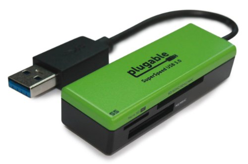 Plugable SuperSpeed USB 3.0 Flash Memory Card Reader for Windows, Mac, Linux, and Certain Android Systems - Supports SD, SDHC, SDXC, Micro SD / T-Flash, MS, MS Pro Duo, MMC, and more (Usb3 Cf Reader compare prices)