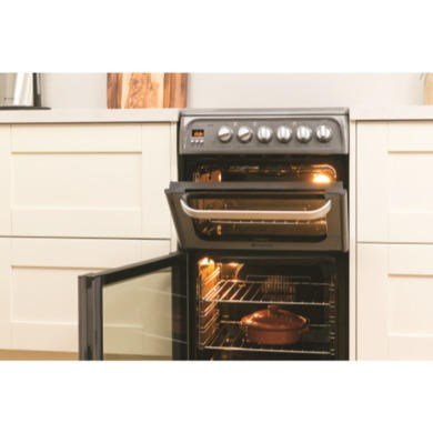 Hotpoint HUE52GS 50cm Wide Double Oven Electric Cooker With Ceramic Hob - Graphite