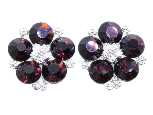 EARRING CLIP ON CRYSTAL STONE Amethyst Fashion Jewelry Costume Jewelry fashion accessory Beautiful Charms