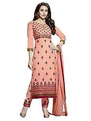SR Women's Cotton Unstitched Dress Material (Peach Top Bottom Duptta)