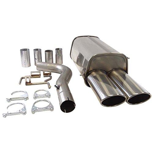 Supersport-Edelstahl-Endschalldmpfer-passend-fr-MERCEDES-BENZ-CLK-II-Coup-Cabrio-Typen-C209-200-Kompressor-240-Otto-120-125KW-Bj-0502-Endrohre-2x-90x120mm-gebrdelt-abgeschrgt-versetzt-inkl-Auto-Staubs