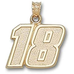 Kyle Busch Large Driver Number 18 5 8 Pendant - 14KT Gold Jewelry by Logo Art