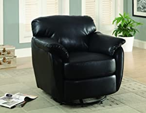 Monarch Leather-Look Swivel Accent Chair, Black