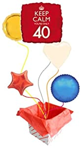 'Keep Calm You're Only 40′ Square Foil Balloon - 18 Inches / 46cm (Inflated) Balloons in a Box - 5 Balloons