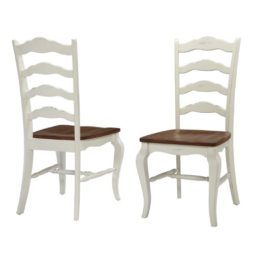Home Styles 5518-802 The French Countryside Dining Chair Pair, Oak And Rubbed White front-859830
